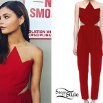 Stefanie Scott: Red Zig-Zag Jumpsuit