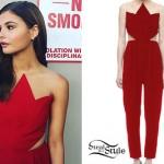Stefanie Scott: Red Zig-Zag Jumpsuit