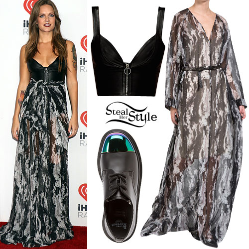 Tove Lo: Leather Top, Printed Maxi Dress