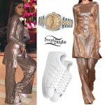 Zendaya: Gold Tunic, White Sneakers