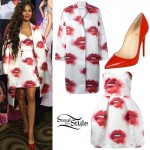 Zendaya: Lips Print Coat & Dress