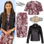 Zendaya: Maroon Palm Print Outfit