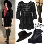 Ash Costello: Bat Print Babydoll Dress