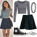 Daya: Plaid Skirt, Gray Long-Sleeve