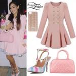 Gabriella DeMartino: Pink Flared Coat, Bowler Bag