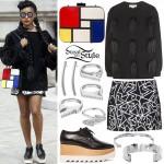 Janelle Monae: Fur Sweatshirt, Mondrian Bag