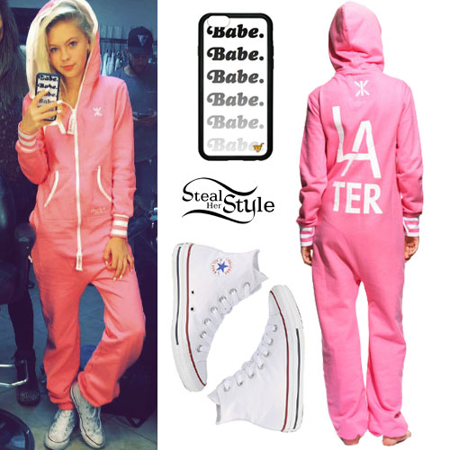 Jordyn Jones: Pink Onesie, 'Babe' Case