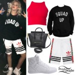 Jordyn Jones: 'Squad Up' Top, Adidas Shorts