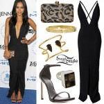Karrueche Tran: Plunge Maxi Dress, Black Sandals
