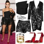 Madison Beer: Leather Lace Coat & Shorts