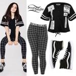 Maggie Lindemann: Baseball Jersey, Grid Leggings