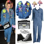 Miley Cyrus: Patched Jacket, Denim Jumpsuit