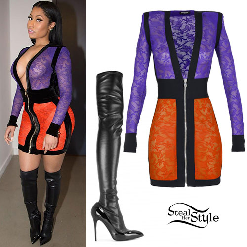 Nicki Minaj: Lace Colorblock Dress