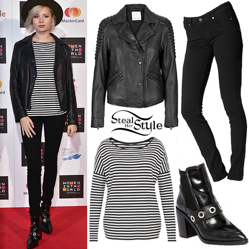 Nina Nesbitt: Leather Jacket, Striped Top