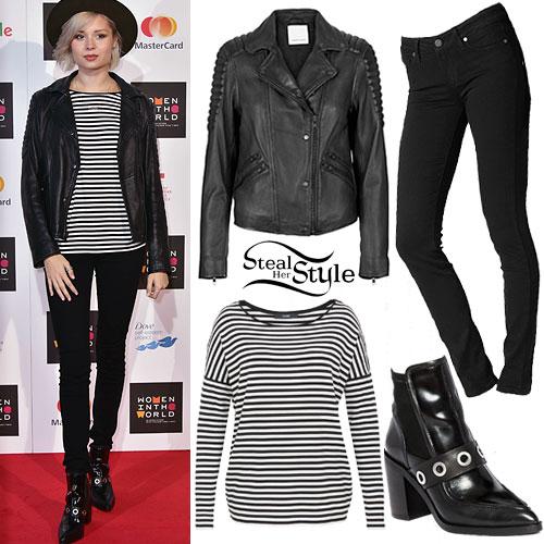 Nina Nesbitt: Leather Jacket, Striped Top