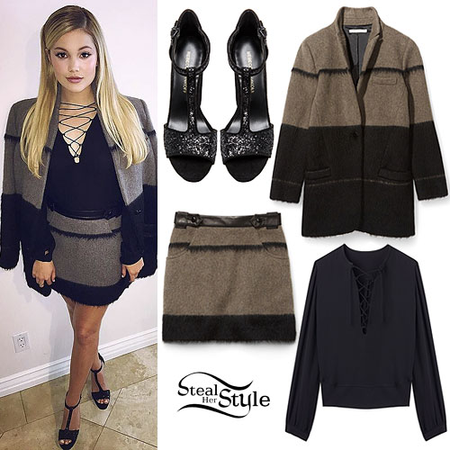 Olivia Holt: Lace-Up Top, Wool Skirt