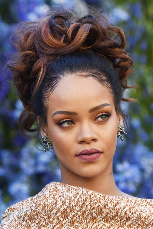 Rihanna Wavy Dark Brown Updo Hairstyle Steal Her Style