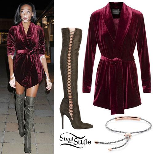 Winnie Harlow: Velvet Blazer, High Boots
