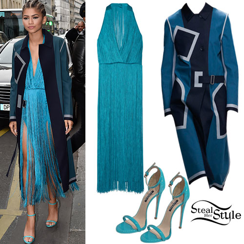 Zendaya: Colorblock Coat, Fringe Dress