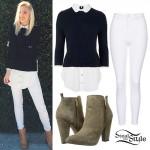 Jordyn Jones: Layered Sweater, White Jeans