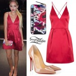 Jordyn Jones: Red Satin Dress, Floral Clutch