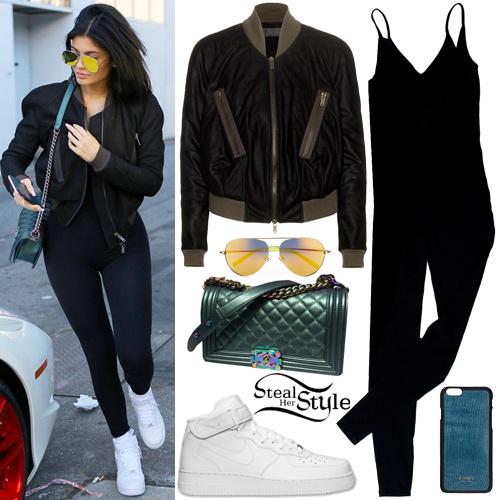 Kylie Jenner: Crop Bomber Jacket, Black Unitard   Steal ...