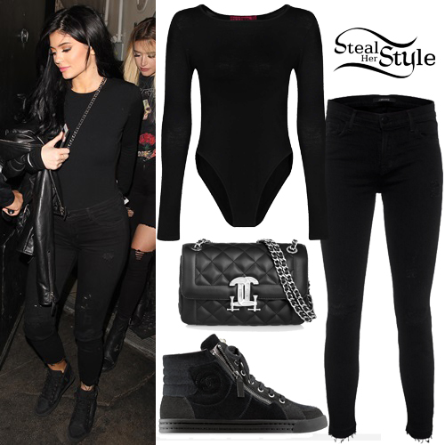 Kylie Jenner Black Bodysuit Ripped Jeans Steal Her Style