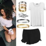 Madison Beer: Scoopneck Tee, Ruffle Shorts
