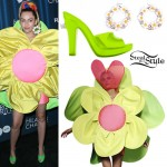 Miley Cyrus: Flower Dress, Green Sandals