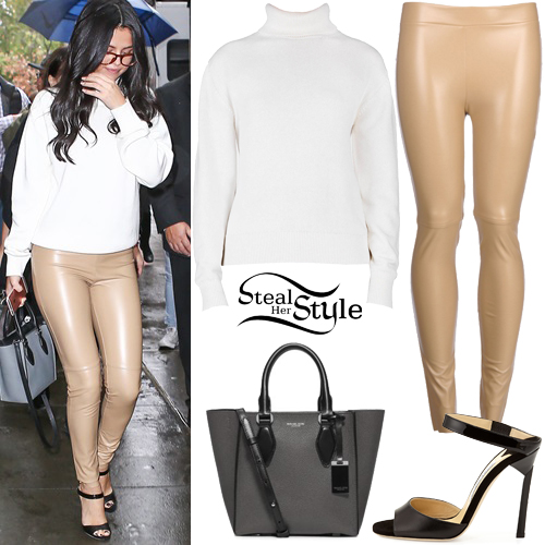 Selena Gomez: White Sweater, Beige Leather Pants | Steal Her Style