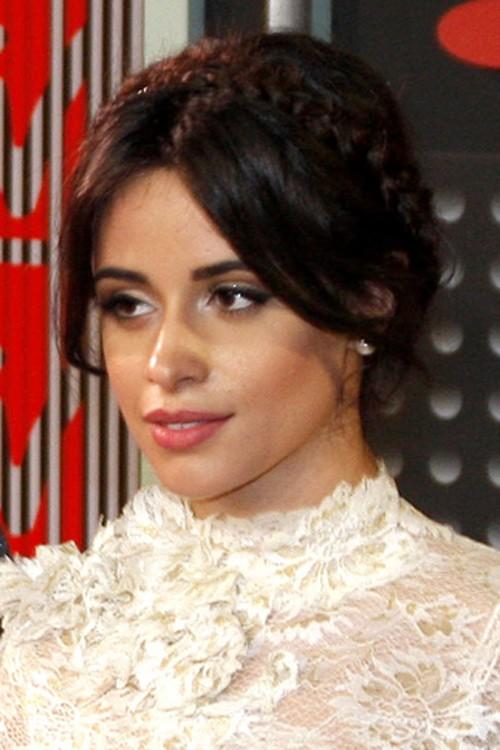 Camila Cabello Straight Dark Brown Crown Braid Updo Hairstyle