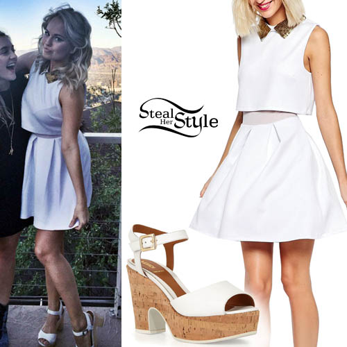 Debby Ryan: Beaded-Collar Dress, White Sandals | Steal Her Style