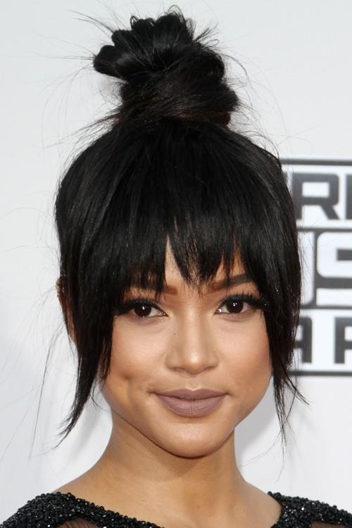 Enjoyable Karrueche Tran Straight Black Bun Choppy Bangs Updo Hairstyle Hairstyle Inspiration Daily Dogsangcom