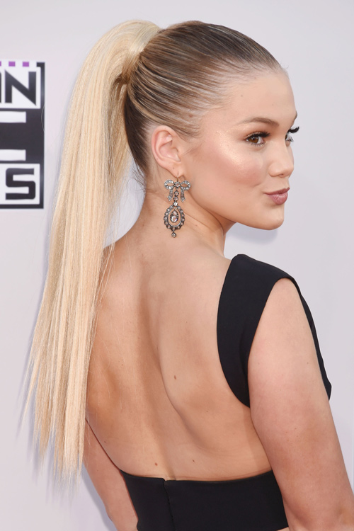 Olivia Holt Straight Medium Brown High Ponytail Ombr 233