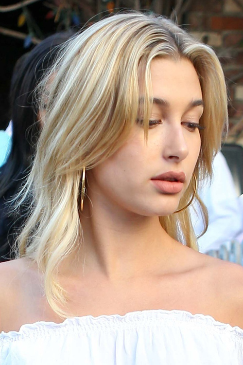 Hailey Baldwin Straight Light Brown All Over Highlights