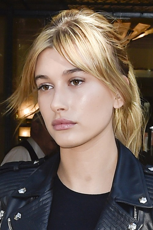 Hailey Baldwin Straight Honey Blonde Overgrown Bangs Ponytail Hairstyle Steal Her Style
