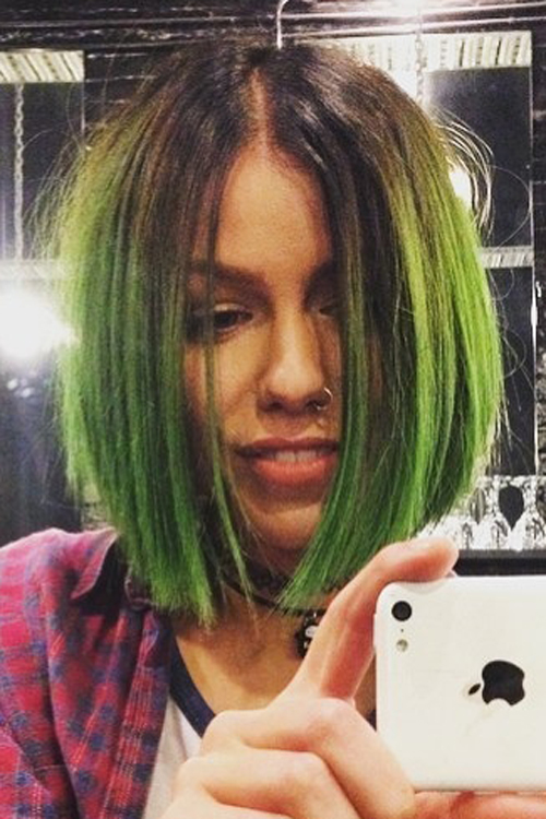 Jenna McDougall Straight Green, Medium Brown Angled Bob ...