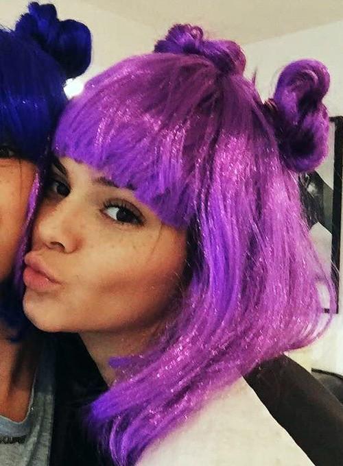 Kendall Jenner Straight Purple Blunt Bangs Mini Braids
