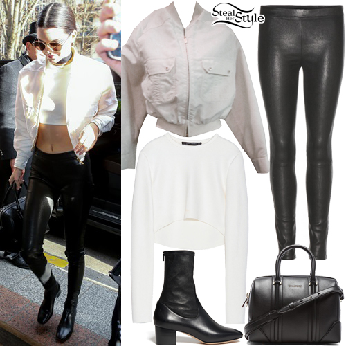 Kendall Jenner White Bomber Jacket Leather Pants Steal Her Style
