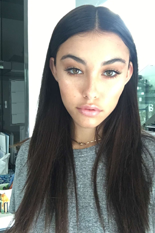 Madison Beer Straight Dark Brown Angled Hairstyle Steal