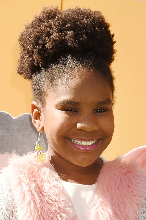 Trinitee Stokes Curly Teased Dark Brown Afro Updo