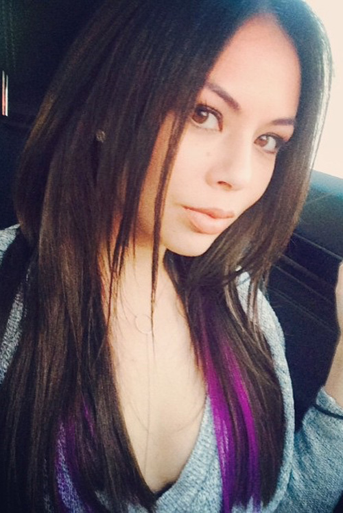 Janel Parrish Straight Dark Brown Angled Peek A Boo