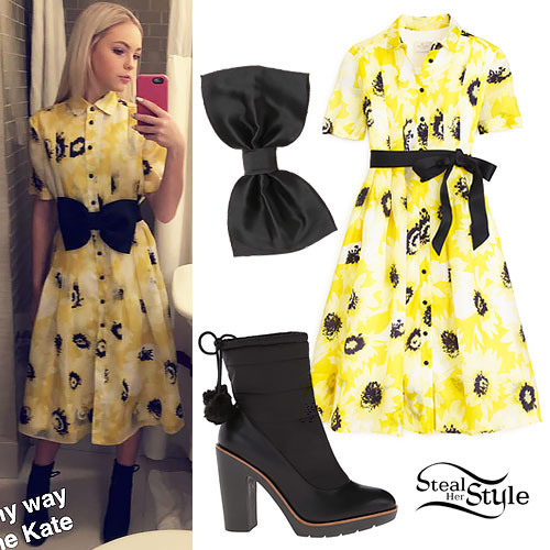 Jordyn Jones: Yellow Printed Shirtdress