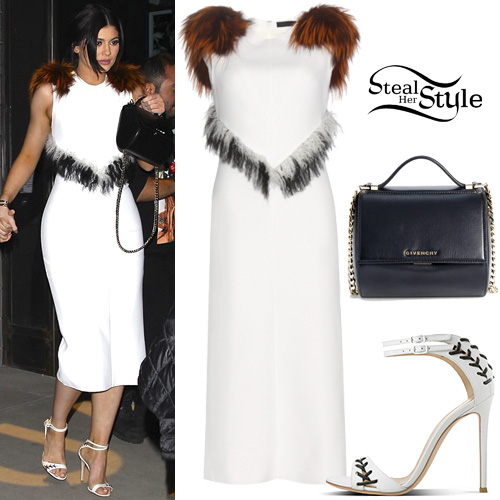 Fur Detail Dress and Sandals