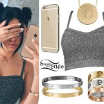 Madison Beer: Textured Gray Bralet