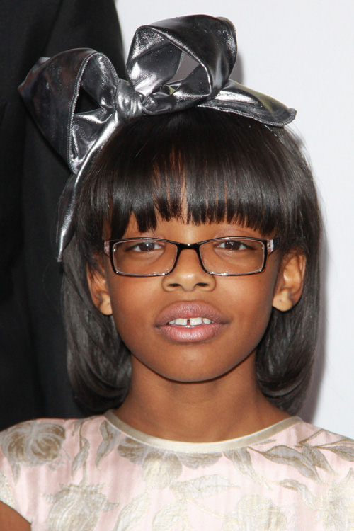 Marsai Martin Straight Black Curved Bangs Hairstyle Steal Her Style