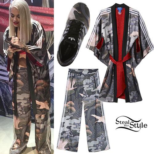 purchase cheap f4256 14016 Rita Ora Adidas Kimono Outfit