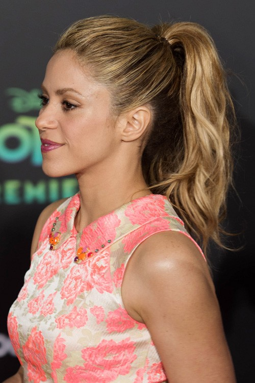Shakira Wavy Light Brown High Ponytail Ponytail Hairstyle