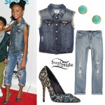 Skai Jackson: Denim Vest, Leopard Pumps
