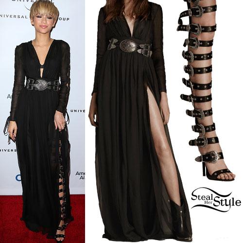 Zendaya: Chiffon Dress, Gladiator Sandals